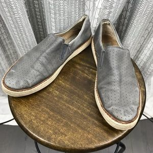 UGG Grey Leather Perforated Slip On Sneakers 7.5